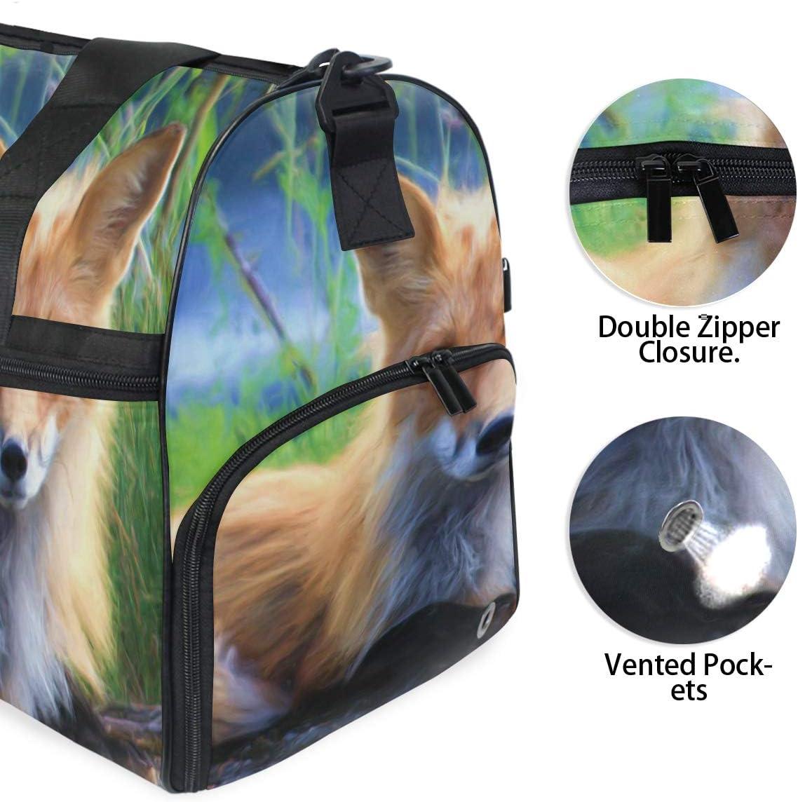 MALPLENA Animal Fox Art Painting Packable Duffle Bag For Men Women Tear Resistant Sports Duffle
