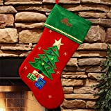 """Christmas Tree Embroidered Stocking, 18.5"""" Long, Personalized"""