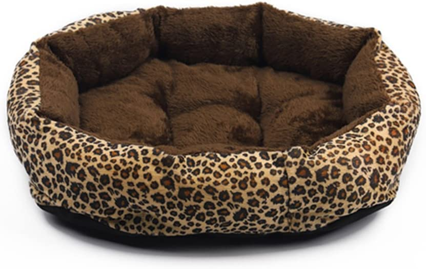 Yiuu Colorful Leopard Print Dog Cave Bed Pet Cat Bed for Pet Cat and Dog Bed,001,L:58×49×14Cm