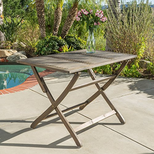 St. Nevis Outdoor Grey Finish Acacia Wood Foldable Dining Table