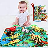 SUPOW 3D Funny Animal Tails Early Education Development Toys, Non-Toxic Soft Fabric Baby Cloth Books with Play Mat, Activity Crinkle Cloth Book for Toddler, Infants and Kids (Rainforest)