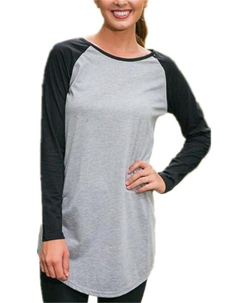 Aivosen Camisetas de Manga Larga Mujeres Cuello Redondo Sexi Slim T Shirt Blusas Camisas Sweatshirt Tops