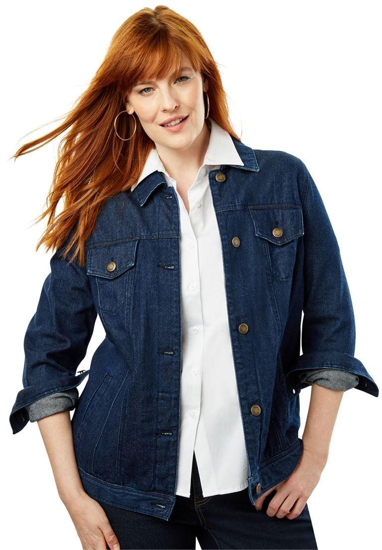 Jessica London Women's Plus Size Classic Cotton Denim Jacket Indigo,18