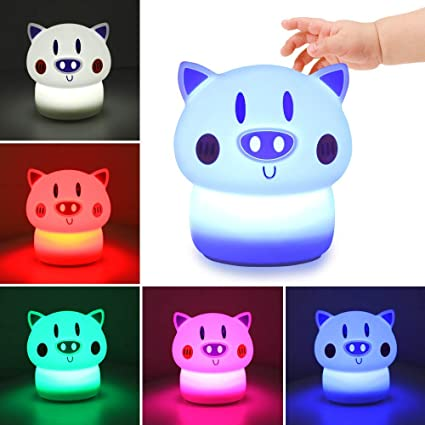 Ounuo Kids Night Light Baby Cute Nursery Night Lamp Tap Control Rechargeable Kids Lamps Blue