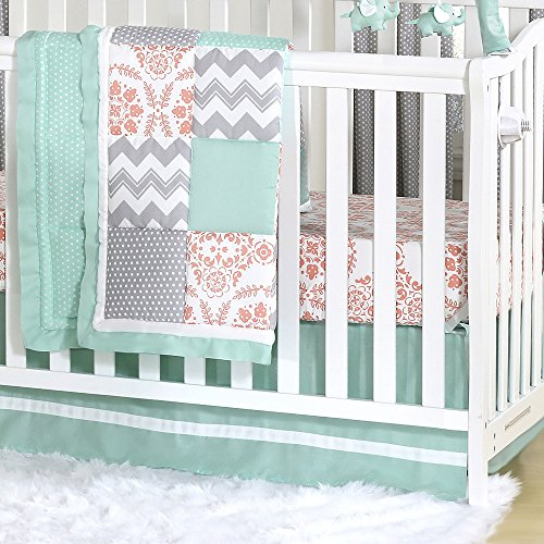 Mint, Coral and Grey Patchwork 3 Piece Baby Crib Bedding Set by The Peanut Shell (And Grey Mint Bedding Coral)