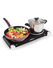 Cusimax Hot Plate, Cast-Iron Double Burner, Portable Electric Cooker Cooktop, Stainless Steel, Black, CMHP-B201 (1600W+800W)