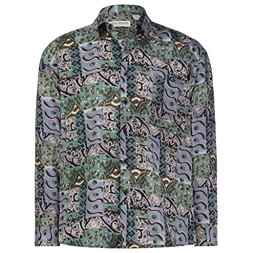 Paisley Design Shirt (Gentlemens Collection Light-Weight Batik Modern Design Long-Sleeve- Tropical Hawaiian Printed Shirt Paisley Thrill Large)