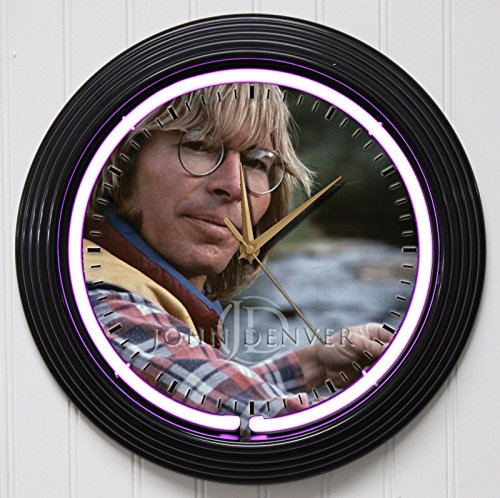 John Denver Memorabilia (JOHN DENVER 15in PURPLE NEON ROCK N ROLL WALL CLOCK K1)