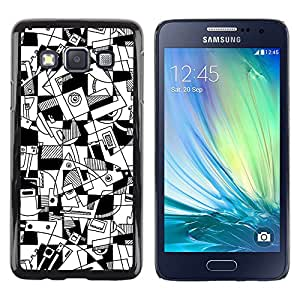 LECELL--Funda protectora / Cubierta / Piel For Samsung Galaxy A3 SM-A300 -- Art Lines Hand Drawn White Black --