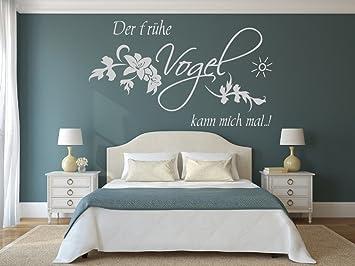 XL Wandtattoo fürs Schlafzimmer 68127-100x58 cm, Spruch ~ Der frühe Vogel  kann mich mal ~ Blumenranke ~ Wandaufkleber Aufkleber für die Wand, ...