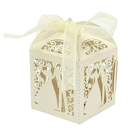 WSS – 50 piezas / lote colorido novio y novio caja de caramelos papel boda regalos