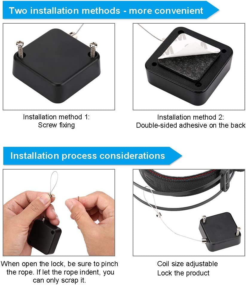 Jewelry Hats Watches-2 Pack Wire Rope Safety Lock for Earphone and All Kinds of Exhibits Such As Glasses Shoes Retractable Cable Lock with Cable Tail