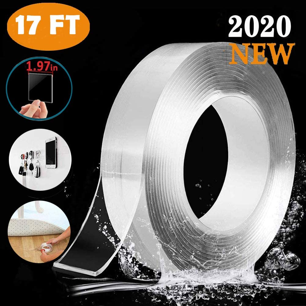Washable Removable Reusable Transparent Tape Nano Adhesive Tape Double Sided Heavy Duty Mounting Tape Sticky Tape Traceless Gel Pads Gel Grip Tape Multipurpose Clear Poster Tape 3m//10ft