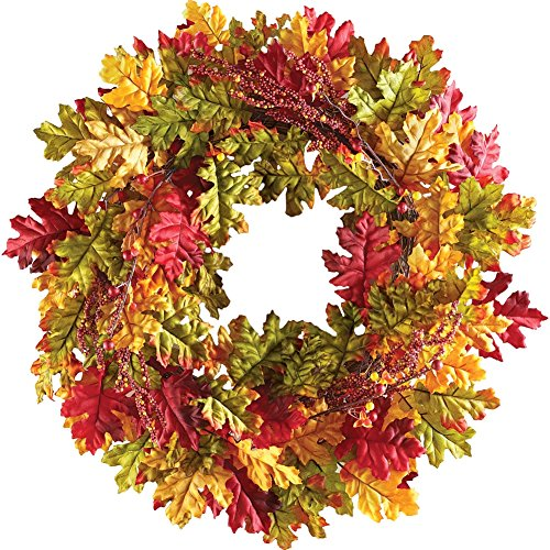 Colorful Oak Leaves And Berries Fall Harvest Wreath (Outdoor Fall Wreath)