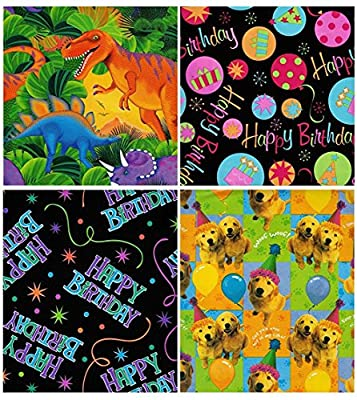 Birthday Gift Wrap Wrapping Paper for Boys, Girls, Kids & Adults Too 4 Different Fun Designs 5 ft X 30 Pack Set Included Medium Weight Paper Wrap Includes Party Hat, Birthday Cake, Dinosaur, Puppies
