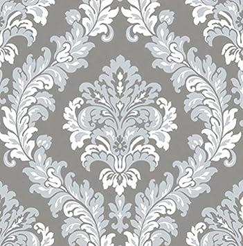 Damast Tapete grau silber weiß mit Relief aus Vinyl waschbar Italian ...