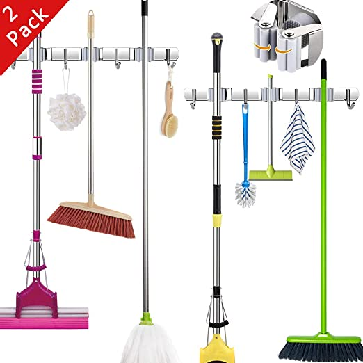 Mop and Broom Holder Wall Mount,Stainless Steel Heavy Duty Broom Organizer