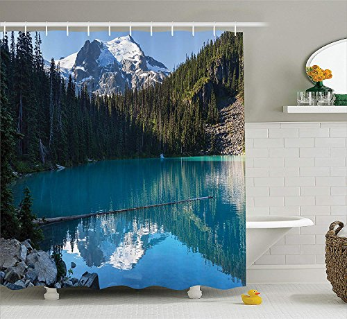 Lake House Decor Shower Curtain Set Lake in Northern Canada with Slim Trees and Snowy Frozen Mountain Novelty Photo Bathroom Accessories Extralong Blue White Green 54