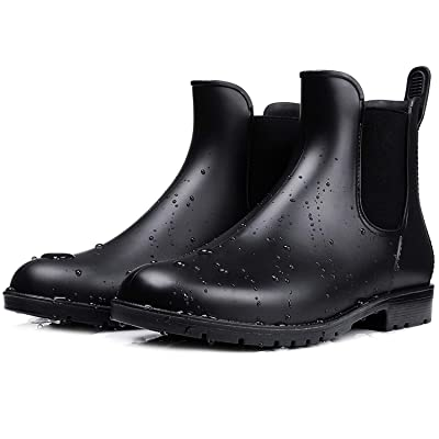 smiry Women's Short Rain Boots Waterproof Anti Slip Rubber Ankle Chelsea Booties | Rain Footwear