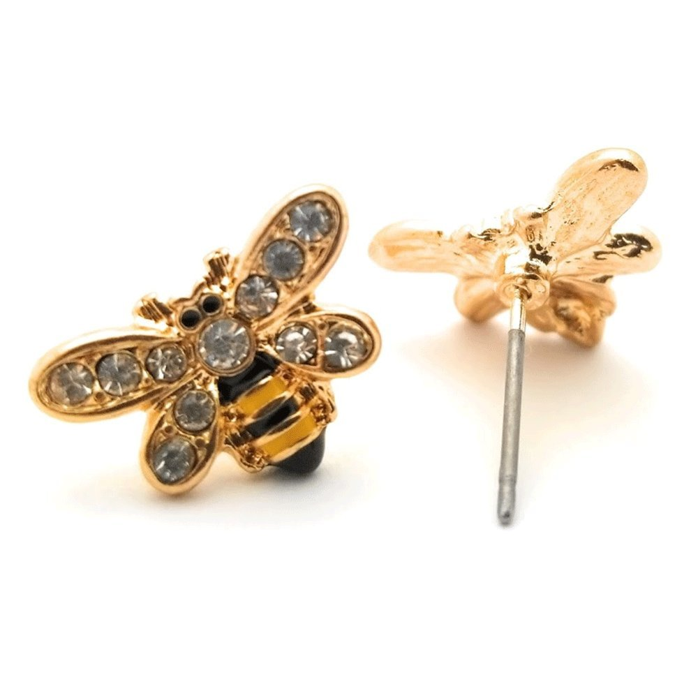 Teris Boutique Super Cute Small Sparkle Crystal Rhinestone Bumble Honey Bee Stud Earring