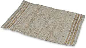 Boho Traders Sumak Handloom Area Rug Leather Jute Sumak Handloom Area Rug, Beige