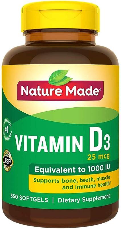 Amazon Com Nature Made Vitamin D3 25 Mcg 1000 Iu Softgels Mega Size 650 Packaging May Vary Health Personal Care