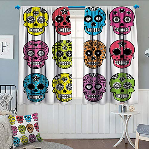 GLANDU Skulls Decorations Collection, Thermal/Room Darkening Window Curtains, Ornate Colorful Traditional Mexian Halloween Skull Icons Dead Humor Folk Art Print, Decor Curtains by, 72x63 Inch Multi]()