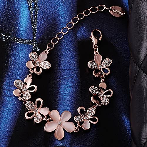 Rockyu ジュエリー ブランド 人気 ブレスレット レディース ワイルド ピンクゴールド 18k カラー 透明 ダイヤモンド バングル (花, ピンクゴールド) (クローバー)