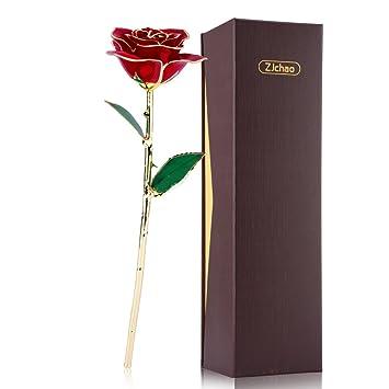 Rosa de Oro 24K, Regalo para el Día de San Valentín Día de la Madre Navidad Cumpleaños Viene en una preciosa caja de regalo