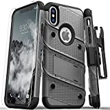 Zizo Bolt Series Compatible with iPhone X Case Military Grade Drop Tested with Screen Protector, Kickstand and Holster iPhone Xs Metal Gray