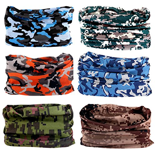 Toes Home 6PCS Outdoor Magic Headband Sport Camouflage Headwear Elastic Seamless Bandana Scarf UV Resistence for Yoga Hiking Riding Motorcycling ()