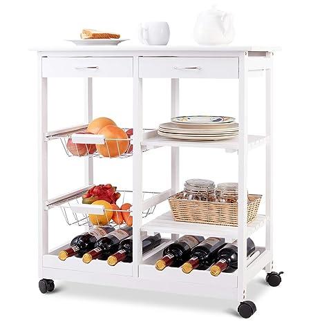 FDS costway Carrito de Cocina Carrito Trolley – Carro Auxiliar de Cocina con Ruedas y estantes