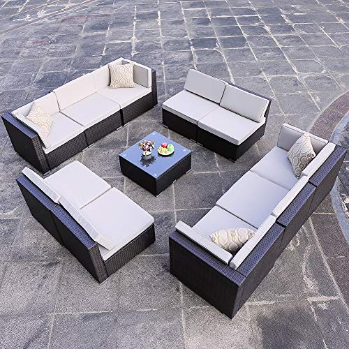 DOMI OUTDOOR LIVING 11-Piece Sectional Patio Furniture Set, All-Weather Garden Lawn PE Rattan Wicker Sofa, with Tea Table and 4 Sunbrella Pillows, Steel Frame, Brown Wicker, Beige Cushions ()