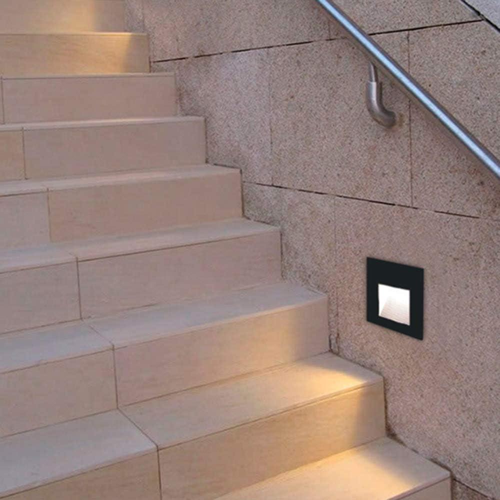 KHEBANG LM6191 Baliza LED Escalera 3 W Luz Color Cálido Amarillo 3000K,Negro: Amazon.es: Iluminación
