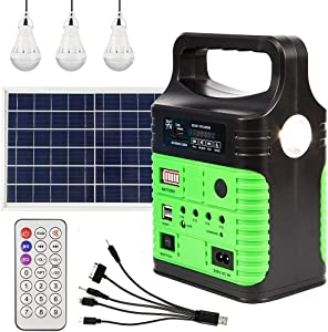 Solar Generator - Portable Power Station with Solar Panel&USB DC Outlets, Battery Power Supply with Led Flashlight for Home Emergency, Outdoor Camping, Fishing, Hunting, Hurricane(green)