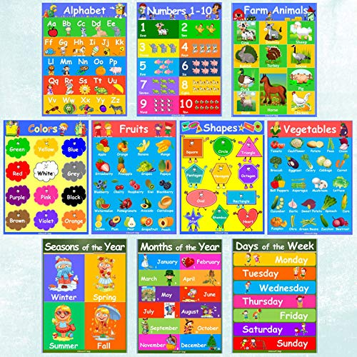 10 Laminated Kids Educational Posters - Toddler Learning Poster Set of Alphabet, Numbers, Shapes, Colors, Days of The Week, Months of The Year, Seasons, Fruits, Vegetables, Farm Animals (12.2