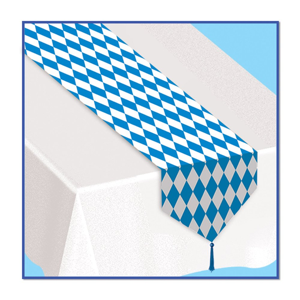 Printed Oktoberfest Table Runner Party Accessory (1 Count) (1/pkg) (Pkg of 12, Blue/White) by Beistle