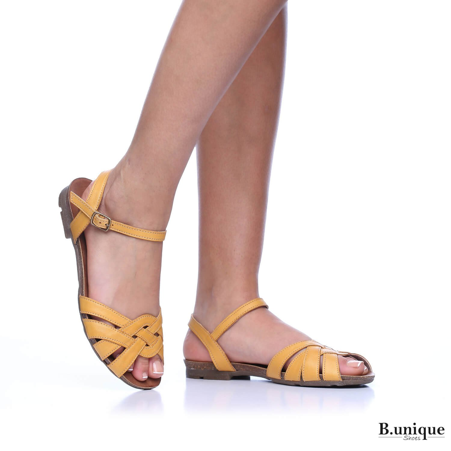 B-Unique Venice Flat Sandals Women, Woven Leather Sandal Ankle Strap