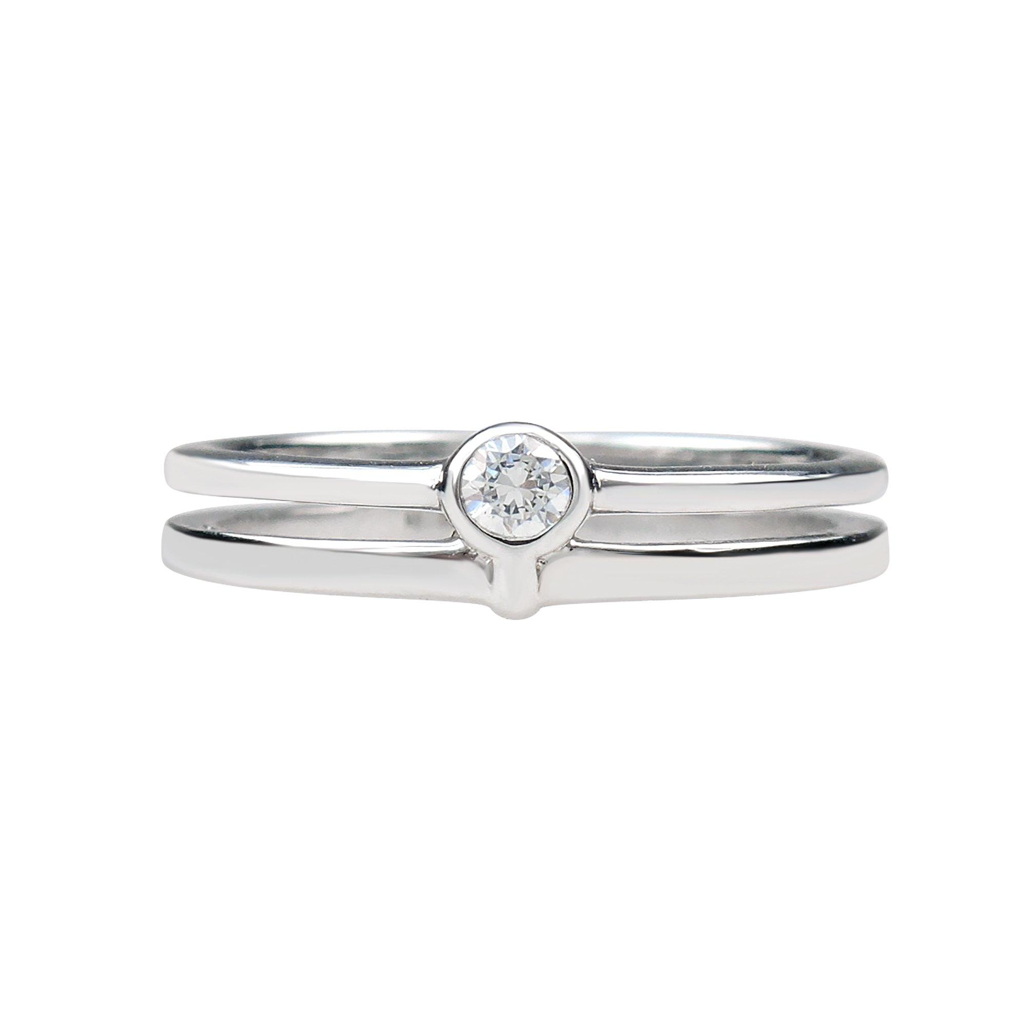 Aura by TJM Sterling Silver 0.15 cts White CZ Split Shank Bridal Wedding Ring