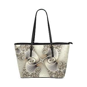 Women's Leather Large Tote HandBag Gray Swirl Shoulder Bag