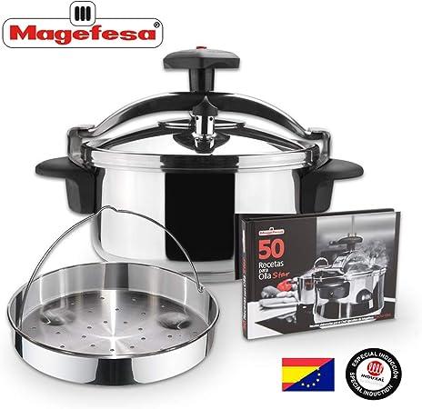 MAGEFESA STAR Olla a presión rápida. Pack exclusivo Olla+Cestillo+Libro de recetas. Fácil uso, acero inoxidable 18/10, apta para todo tipo de cocinas, incluido inducción, 3 sistemas de seguridad. (4L): Amazon.es: Hogar