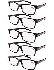 Eyekepper 5-pack Spring Hinges Vintage Reading Glasses Men Readers Black +2.0