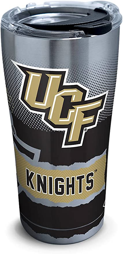 Clear Tervis 1282852 UCF Knights Primary Logo Tumbler with Emblem and Black with Gray Lid 24oz Water Bottle