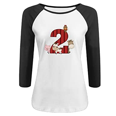 Women 2nd Birthday Farm Animals Graphic Print Plain Raglan T Shirt 3 4 Sleeve