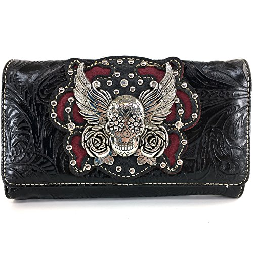 inged Sugar Skull Roses Laser Cut Wristlet Trifold Wallet Attachable Long Strap (Black) (Black Skull Tri Fold Wallet)