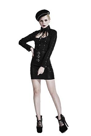 レディース 春 夏 ゴシック ファッション パンク 黒 金属 PUレザー セクシー コスプレ シャツ トップス ブラウス (