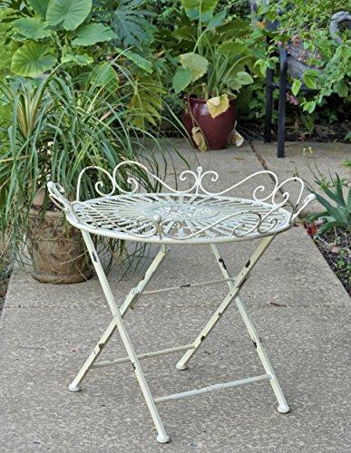 Zaer Ltd. Folding Garden Table (Antique White)