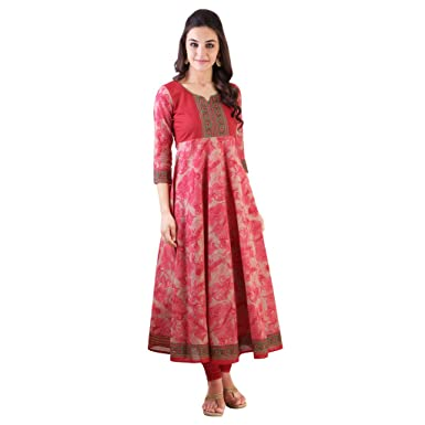 d347b53bc Libas Women s Red Shaded Cotton Anarkali Kurta (1663 Red XX-Large ...