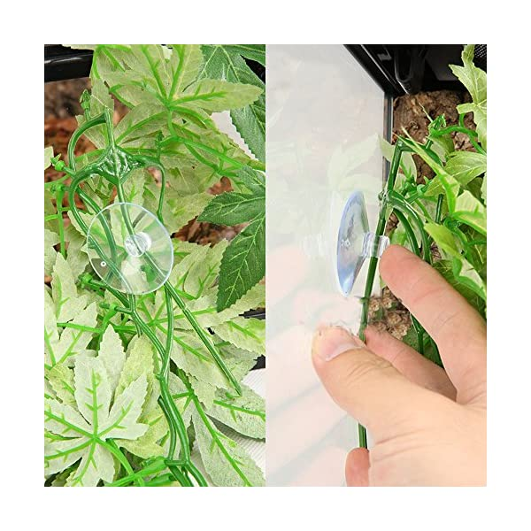 SLSON Reptile Plants Hanging Terrarium Plants Fake Reptiles Climbing Plant for Bearded Dragons,Lizards,Geckos,Snake Pets and Hermit Crab Tank Habitat Decorations,Large Size,20 inches 4