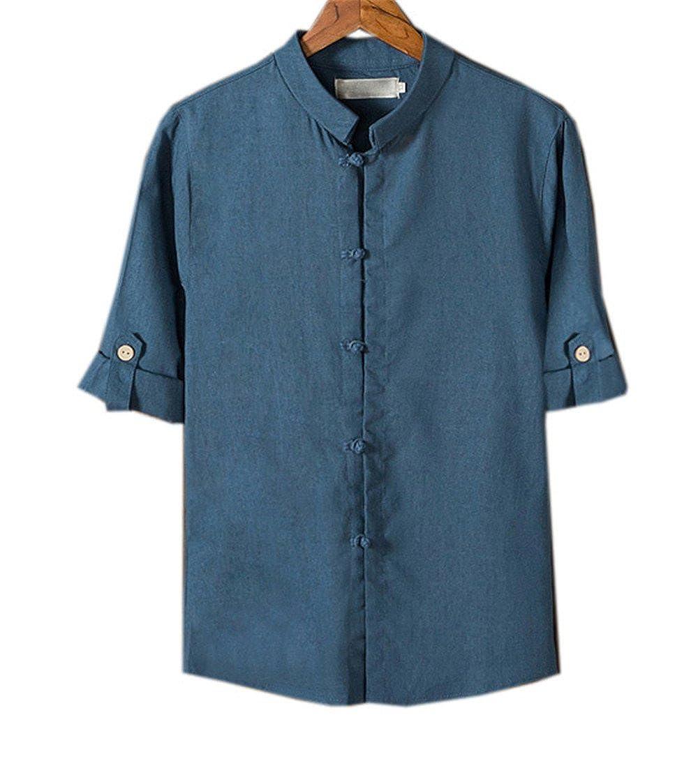 COCO clothing Verano Camisa Hombre Lino Blusa Caballero Tops Cuello Mao Casual Camiseta Estilo de China Shirt: Amazon.es: Ropa y accesorios
